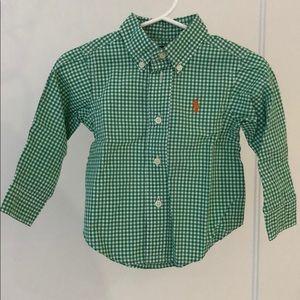 Ralph Lauren Baby Dress Shirt Green Check 9M